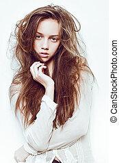 modelo, Moda, joven, europeo