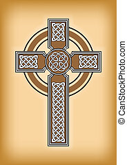 Celtic cross on brown vintage background