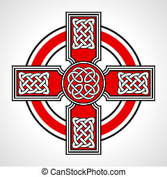 Celtic cross - Red celtic cross with ornaments on white...