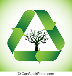 Tree in recycle symbol - Bald tree in green recycle symbol
