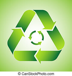 Recycle symbol on green background