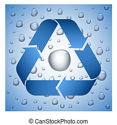 Blue recycle symbol on wet background, water drop inside the...