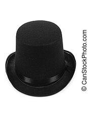 negro, tophat, cima, sombrero, aislado, blanco