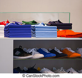 Polo shirts, clothes shop - View of Polo shirts and sport...