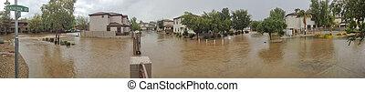 Arizona Monsoon Season in Phoenix - Standing rain water of...