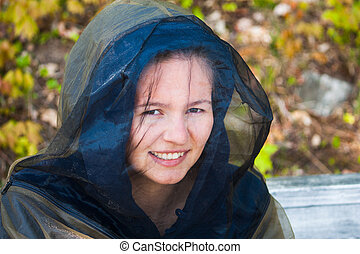 Young woman in bug gear - A young woman in Northern Cottage...