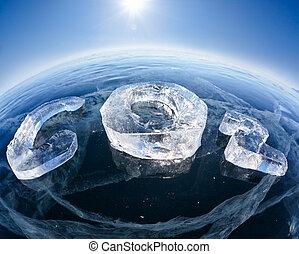 CO2, dióxido, químico, helado,  carbón,  fórmula