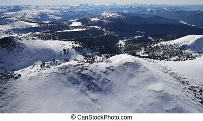 Snowy mountains landscape - Mountain landscape from air...