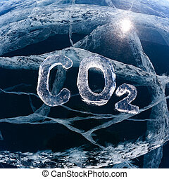 Icy chemical formula of carbon dioxide CO2 - Chemical...