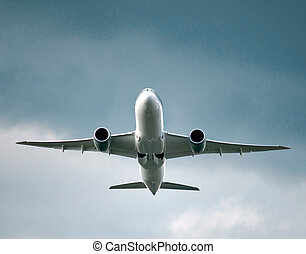 aircraft taking off - Low angle view of jet airliner taking...