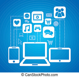 connectivity icons over blue background vector illustration...