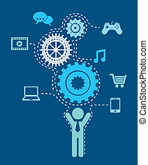 connectivity gears over blue background vector illustration...