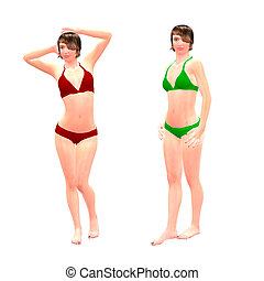 3d girls in red and green bikini - Digital render of a...