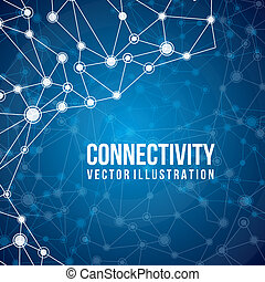 connectivity design over blue background vector illustration...