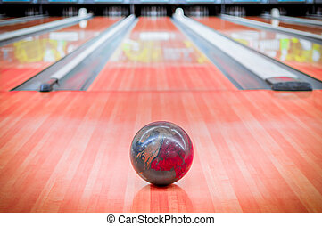 Ball brown on bowling alley. - Ball brown with beautiful...