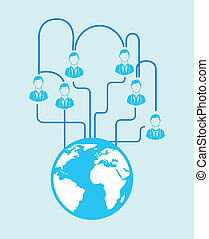 Connectivity - People connection over blue background vector...