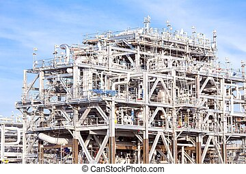 LNG Refinery Factory - Assembling of liquefied natural gas...
