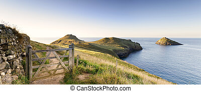 The Rumps - Wooden gate on the south west coast path leading...