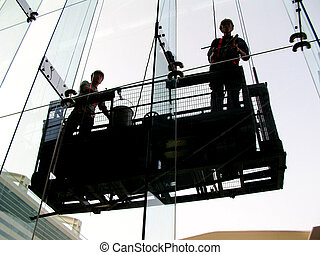 window cleaners working outdoor