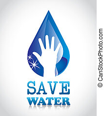 save water over gray background vector illustration