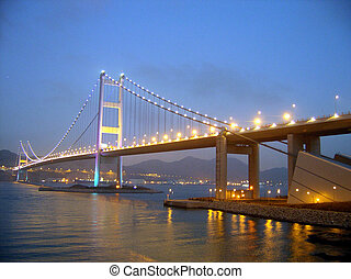 Tsing ma bridge in night scene