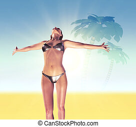 On the beach - A young woman with arms stretched out to the...