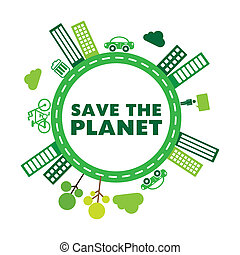 save the planet design over white background vector...