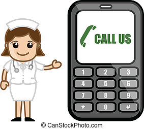 Call Us - Help Line Concept - Cartoon Cute Nurse Character...