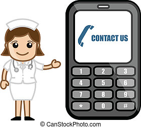 Contact Us via Phone - Medical - Cartoon Cute Nurse...