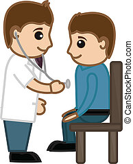 Doctor Checking Up Patient - Medical Cartoon Vector...