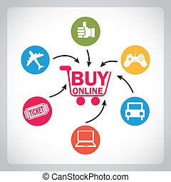 ecommerce design over gray background vector illustration