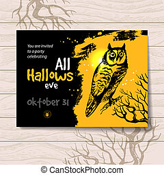 Halloween invitation. Vintage hand drawn illustration