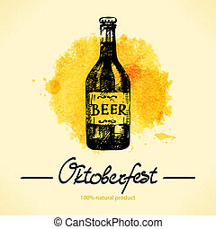 Oktoberfest hand drawn illustration with watercolor back