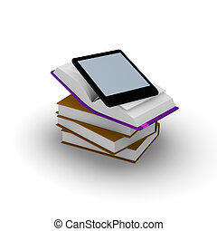 E-book reader on stacked books