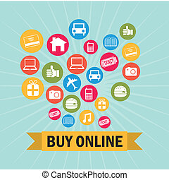 ecommerce design over blue background vector illustration