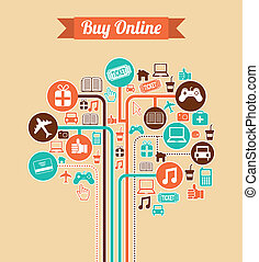 ecommerce design over pink background vector illustration