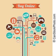 ecommerce design over pink background vector illustration