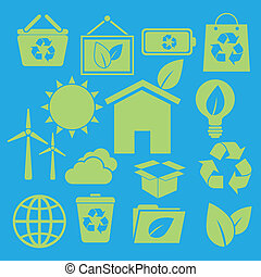 Set of ecology icons on blue background, stock vector