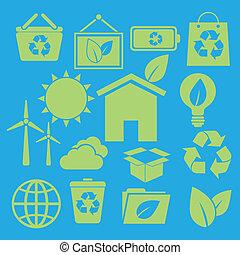 Set of ecology icons on blue background