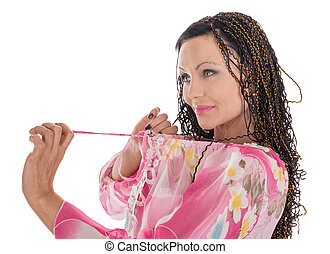 woman with African braids - woman in pink with African...
