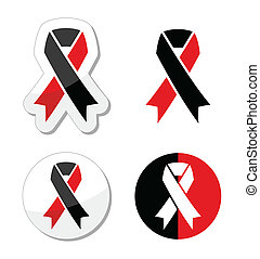 Red and black ribbons set - atheism - Atheism solidariy...
