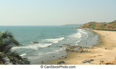 Seaside panorama view. - India Goa Vagator beach February...