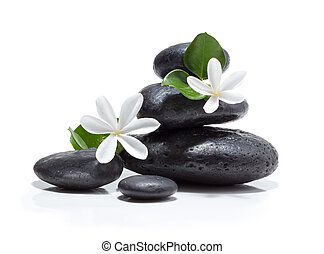 tiare flowers, candle and stones - tiare flowers, candle and...