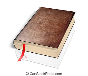 Old book isolated - Illustration of old book over white...