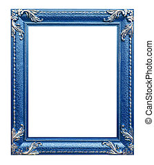 blue photo frame on the white background - blue frame on the...
