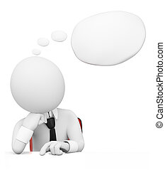 3D white people Businessman with thought bubble - 3d white...