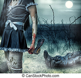 Halloween horror concept Woman zombie holding axe in hands...
