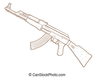 Rifle AK 47.  - Rifle AK 47 - hand drawn.