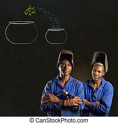 African black men industrial workers with chalk jumping fish bowls blackboard