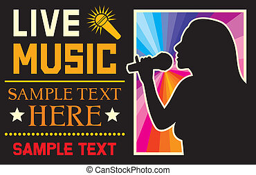 girl singing a song poster music festival design template,...
